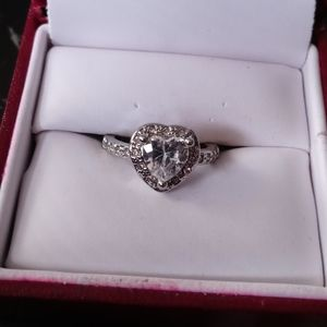 Sterling Silver White Sapphire Heart ring